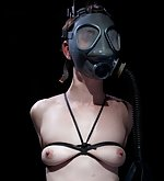 Leather straps, clamps, penetration, breathplay