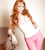 Latex white top and latex pink capri pants