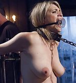 Blond cuffed to the fucking machine and tortured