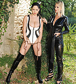 Latex brunette gets chained, tortured and spanked