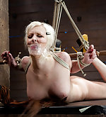 Bound in a classic hogtie, punished and fucked with a dildo