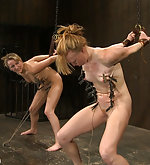 Two hot friends get bound together and pegged