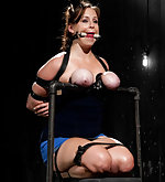 Severe breast predicament bondage & metal hogtie