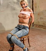 Karol chair-tied, cleave-gagged, tit-grabbed