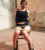 Monalee chair-tied, cleave-gagged, tit-grabbed