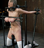 Busty brunette gets fixed, clamped and vibed