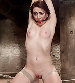 Crotch roped, gagged, suspended, tits clipped, dildoed