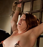 Redhead tied, clamped and trained to suck